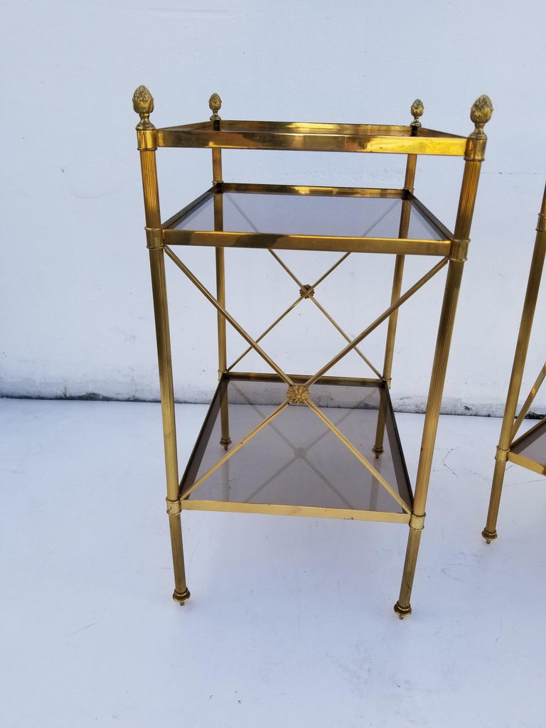 Neoclassical Pair of Maison Baguès Side Tables For Sale