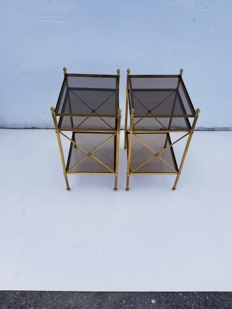 French Pair of Maison Baguès Side Tables For Sale