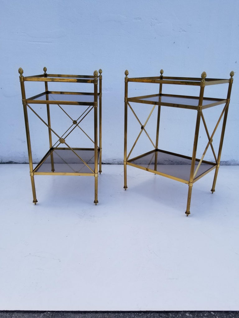 Pair of Maison Baguès Side Tables In Good Condition For Sale In Miami, FL
