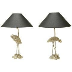 Paar von Maison Baguès Silber Vergoldete Heron Tischleuchten