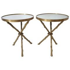 Pair of Maison Bagues Style Brass Faux Bois Tables