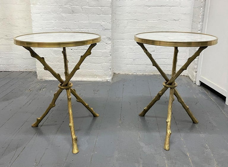 Neoclassical Pair of Maison Baguès Style Bronze and Carrara Marble-Top Tables For Sale
