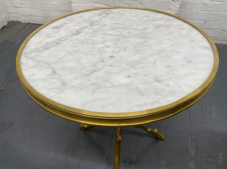 Pair of Maison Baguès Style Bronze and Carrara Marble-Top Tables In Good Condition For Sale In New York, NY