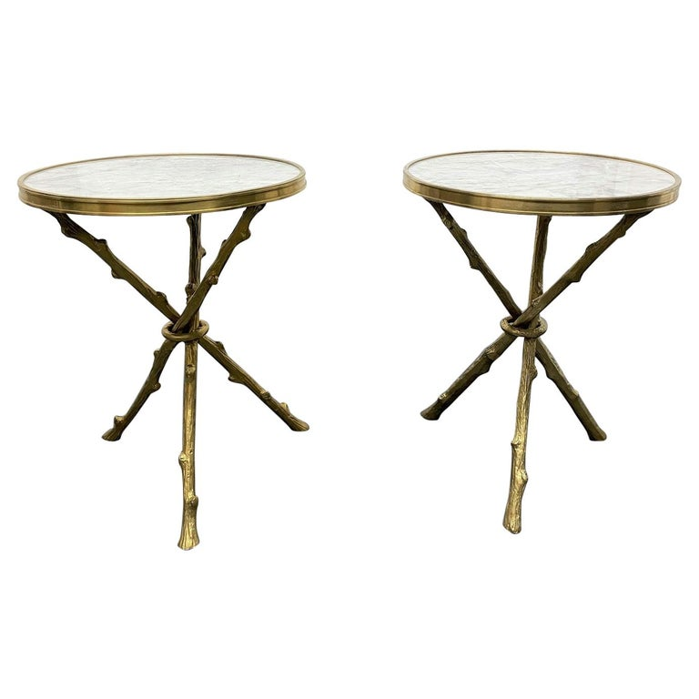 Pair of Maison Baguès Style Bronze and Carrara Marble-Top Tables For Sale