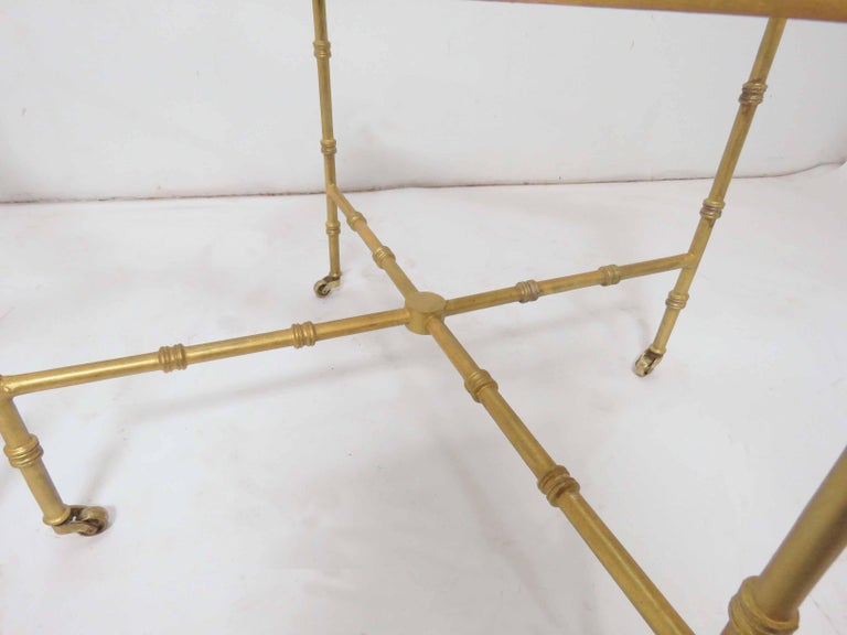 Pair of Maison Baguès Style Gilt End Tables with X-Stretchers and Acorn Finials In Good Condition For Sale In Peabody, MA