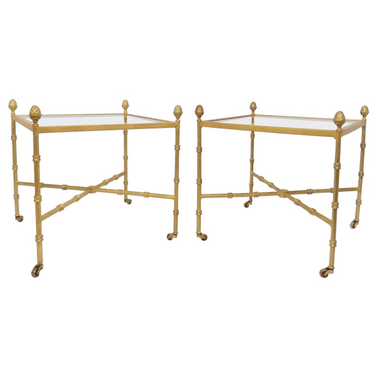 Pair of Maison Baguès Style Gilt End Tables with X-Stretchers and Acorn Finials For Sale