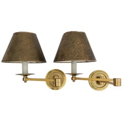 Pair of Maison Baguès Swing Arm Sconces, 2 pairs Available