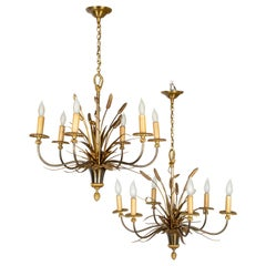 Pair of Maison Charles Bronze Chandeliers