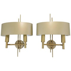 Pair of Maison Charles Gilt Brass Shaded Sconces