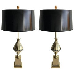 "Pair of Maison Charles ""Lotus"" Bronze Table Lamp"