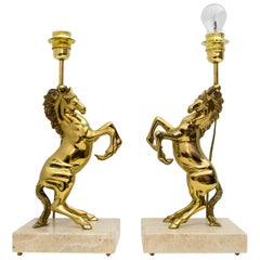 Pair of Maison Charles Mid-Century Modern Brass Horsed French Table Lamps, 1970s