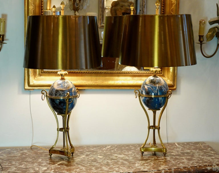 Pair of Maison Charles Neoclassical Tripod Form Lamps with Blue Ostrich Egg For Sale 6