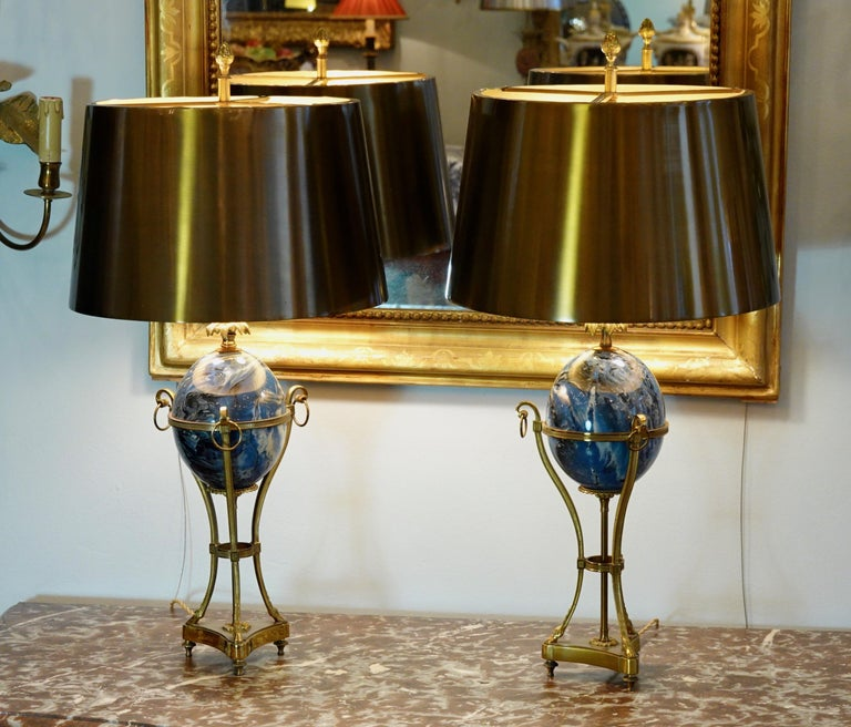 French Pair of Maison Charles Neoclassical Tripod Form Lamps with Blue Ostrich Egg For Sale