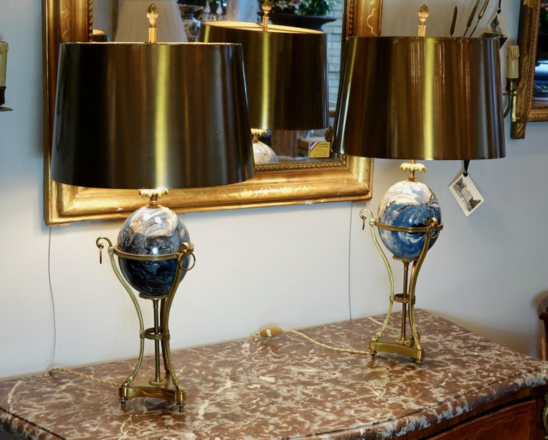 Gilt Pair of Maison Charles Neoclassical Tripod Form Lamps with Blue Ostrich Egg For Sale