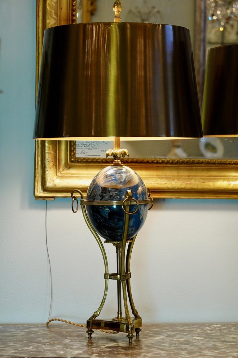 Pair of Maison Charles Neoclassical Tripod Form Lamps with Blue Ostrich Egg In Good Condition For Sale In Charleston, SC