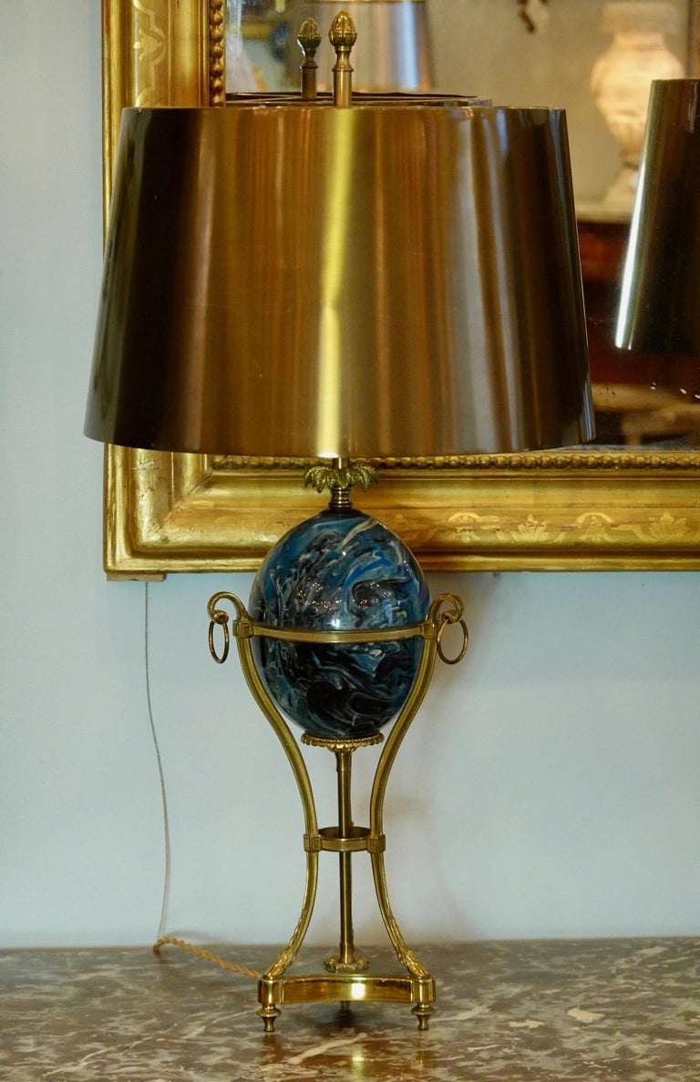 20th Century Pair of Maison Charles Neoclassical Tripod Form Lamps with Blue Ostrich Egg For Sale