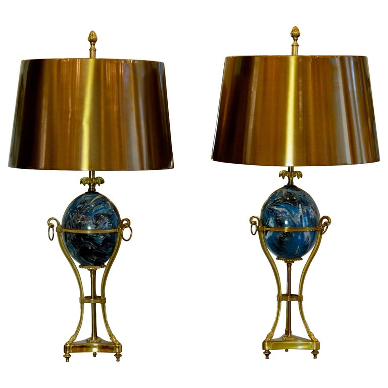 Pair of Maison Charles Neoclassical Tripod Form Lamps with Blue Ostrich Egg For Sale