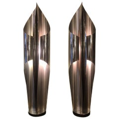 """Pair of Maison Charles """"Voile"""" Steel Table Lamps, France, circa 1970"""