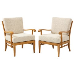 Pair of Maison Gouffé Armchairs, France, circa 1940, Labeled, Numbered