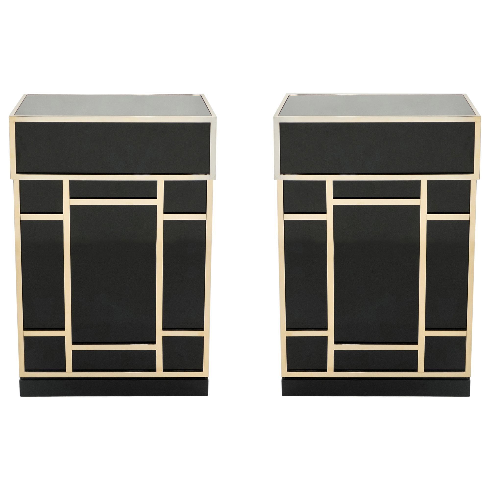 Pair of Maison Jansen Brass Black Lacquered Dry Bar Elements, 1970s