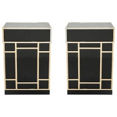 Pair of Maison Jansen Brass Black Lacquered Dry Bar Elements, 1970s