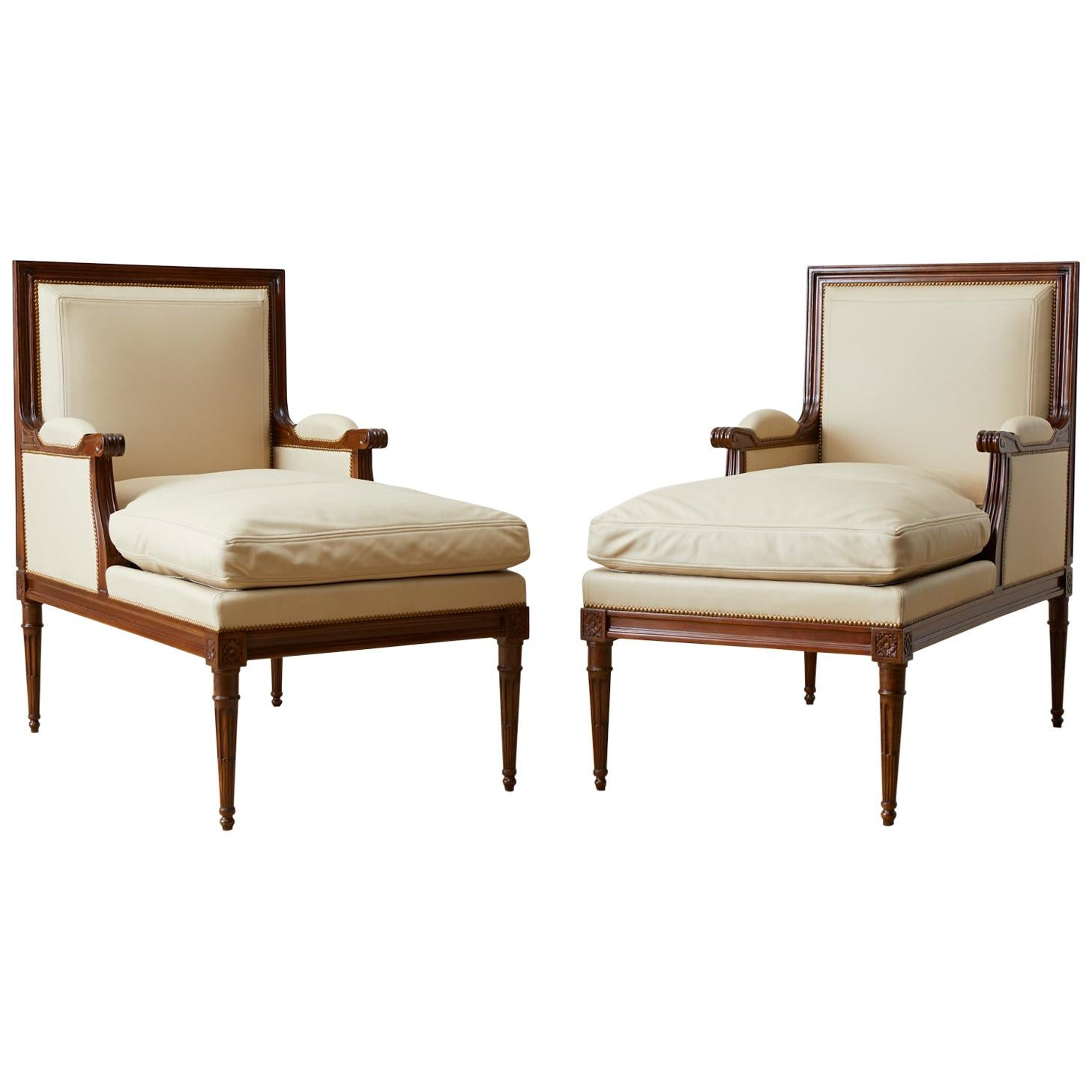 Pair of Maison Jansen Louis XVI Style Long Bergere Armchairs