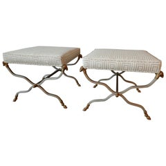 Pair of Maison Jansen Neoclassic Style Steel and Brass Ottoman or Benches