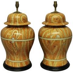 Pair of Maison Jansen Porcelain Table Lamps