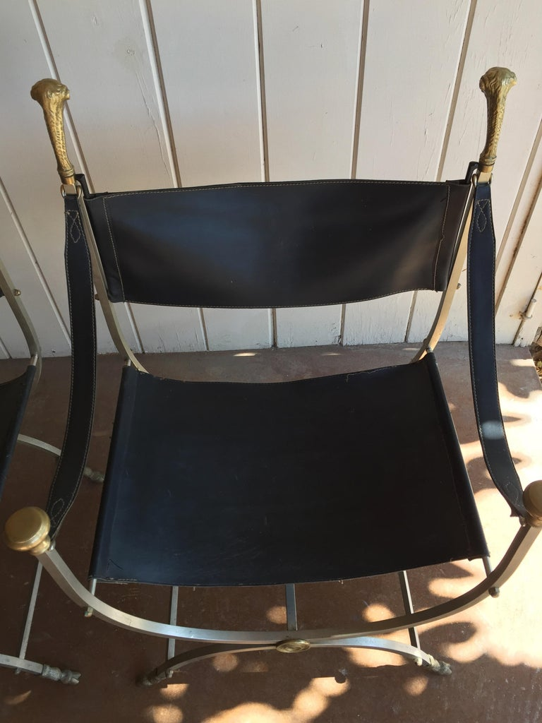 Pair of Maison Jansen Savonarola chairs, original chairs in very good condition acquired recently from an Estate in Arizona, one owner. This handsome pair is the perfect complement to any sophisticated room, flanking a doorway in the living room, to