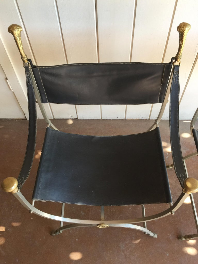 Mid-Century Modern Pair of Maison Jansen Savonarola Chairs For Sale