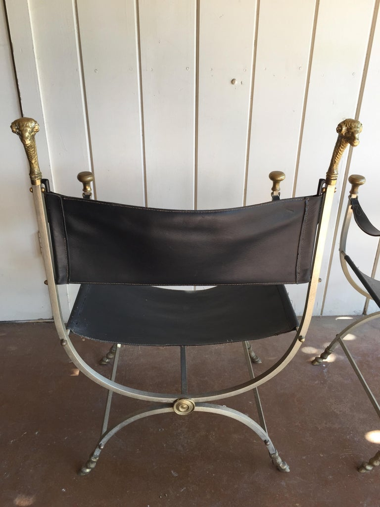 French Pair of Maison Jansen Savonarola Chairs For Sale