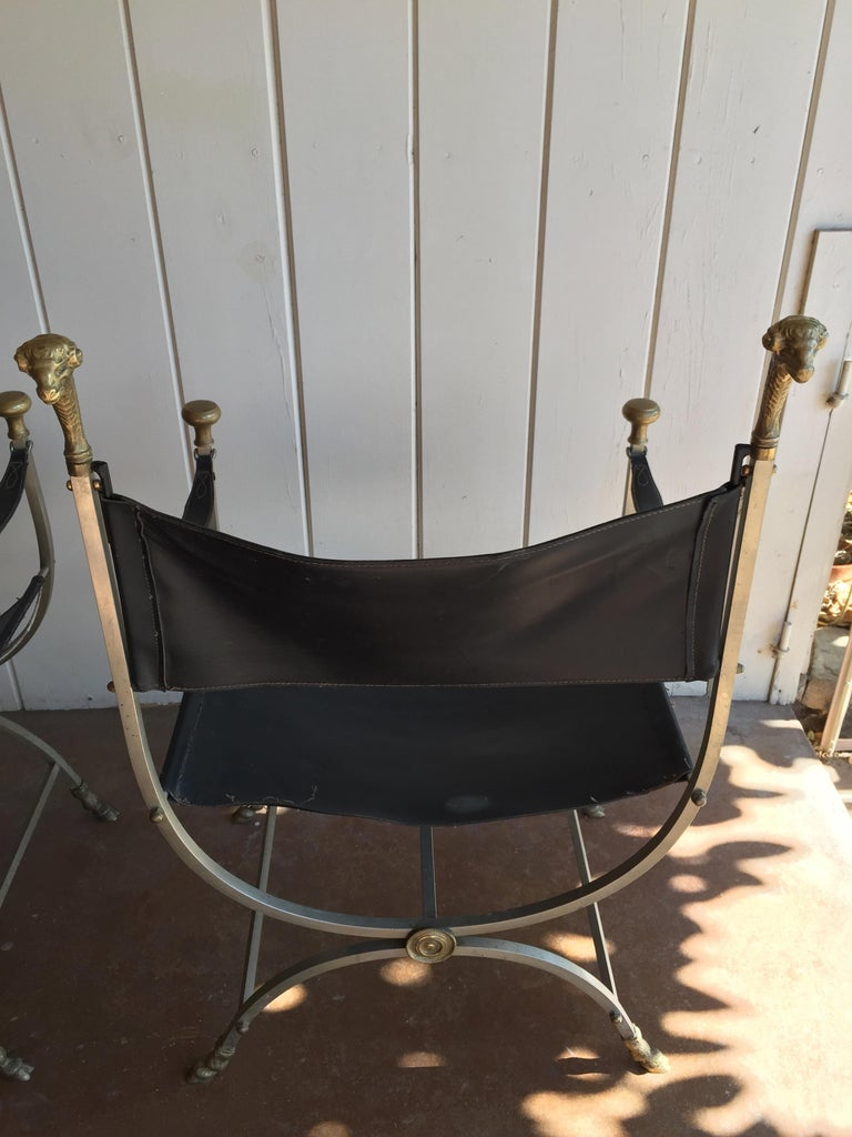 Pair of Maison Jansen Savonarola Chairs In Good Condition For Sale In Los Angeles, CA