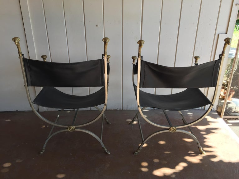 20th Century Pair of Maison Jansen Savonarola Chairs For Sale