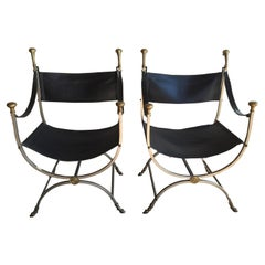 Pair of Maison Jansen Savonarola Chairs
