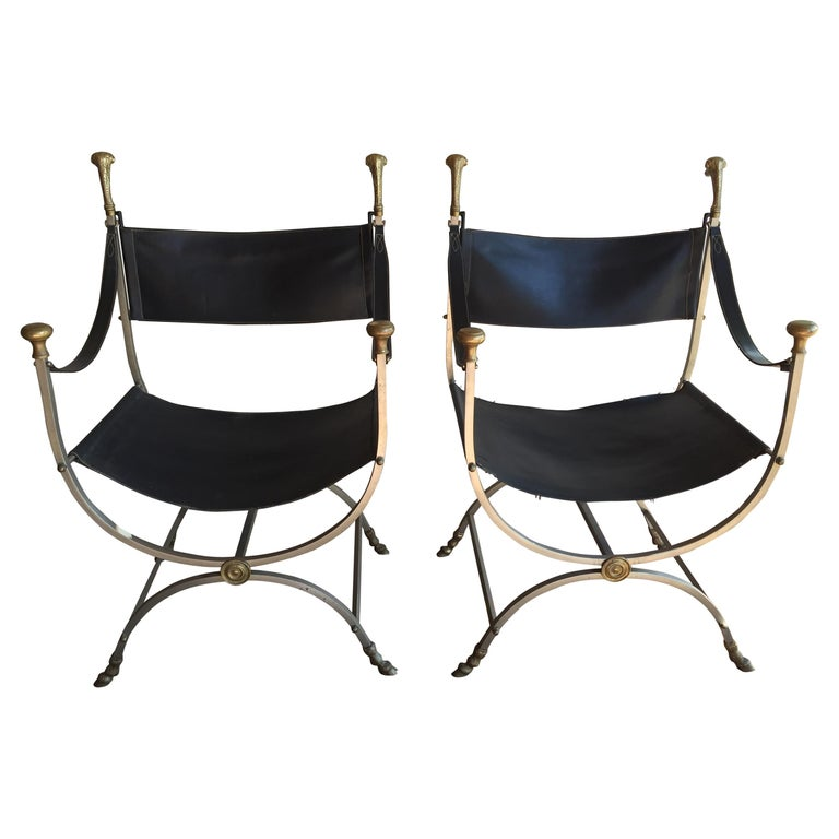 Pair of Maison Jansen Savonarola Chairs For Sale