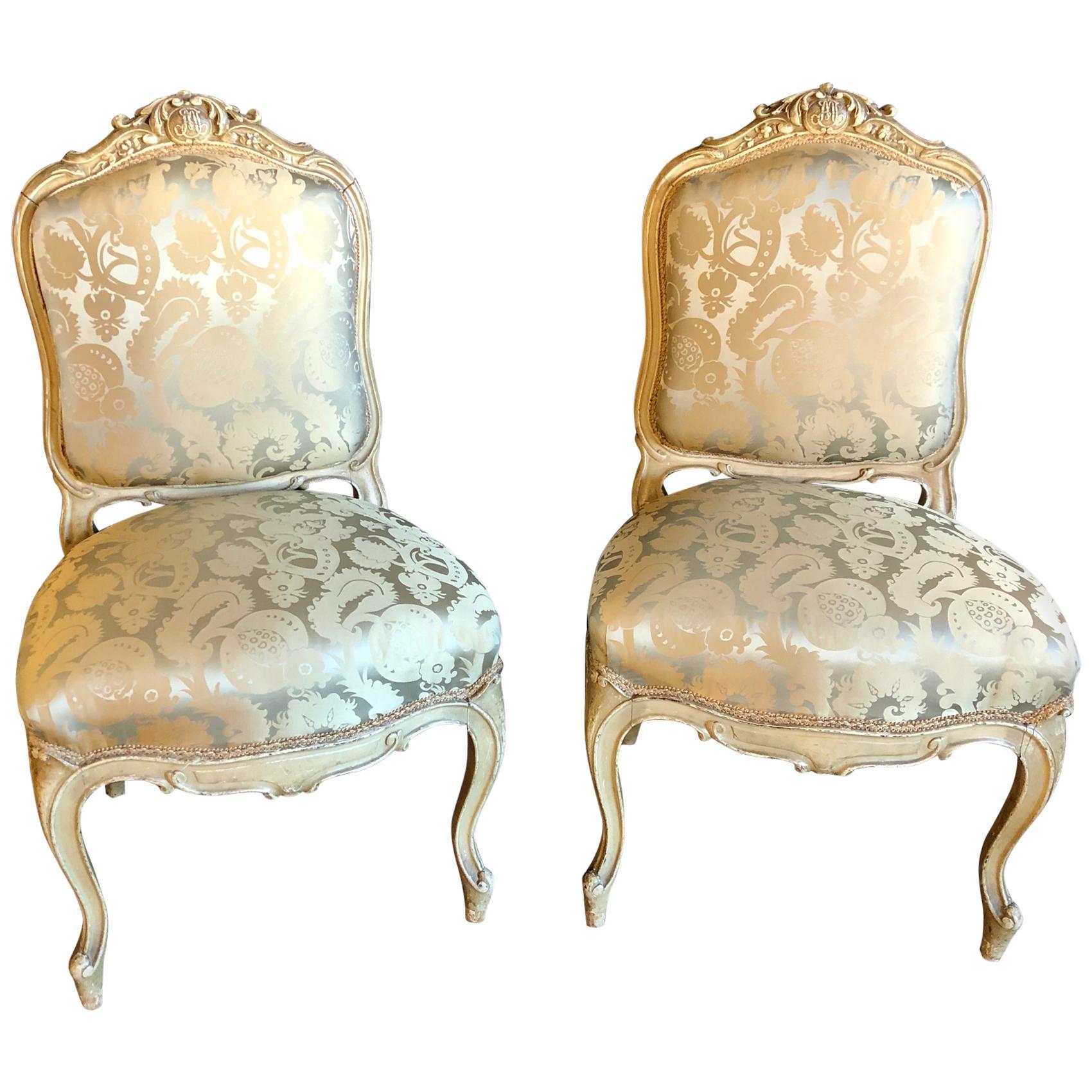 Pair of Maison Jansen Slipper Chairs in Scalamandre Upholstery in Fine Frames