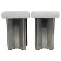Pair of Maison Jansen Stainless Steel Stools, France, 1970s