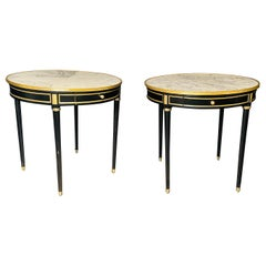 Pair of Maison Jansen Style Bouillotte or End Tables, Ebony Bronze Marble Top