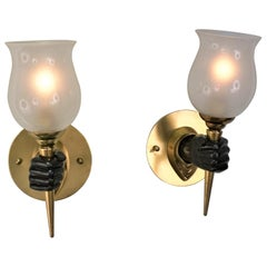 Pair of Maison Jansen Style Bronze Hand Sconces