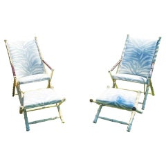 Pair of Maison Jansen Style Campaign Chairs with Footstools, Mid 20th Century