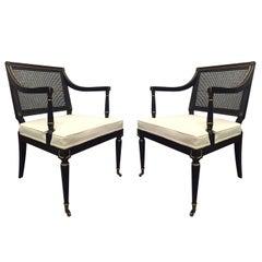 Pair of Maison Jansen Style Cane Armchairs
