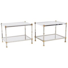 Pair of Maison Jansen Style Chrome and Brass Tables