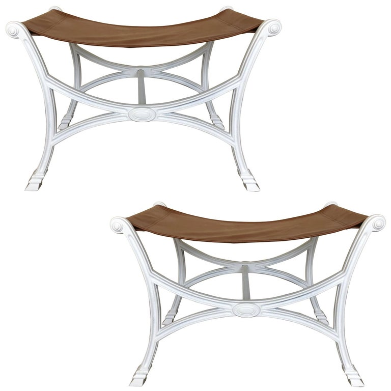 Pair of Maison Jansen Style Curule Benches
