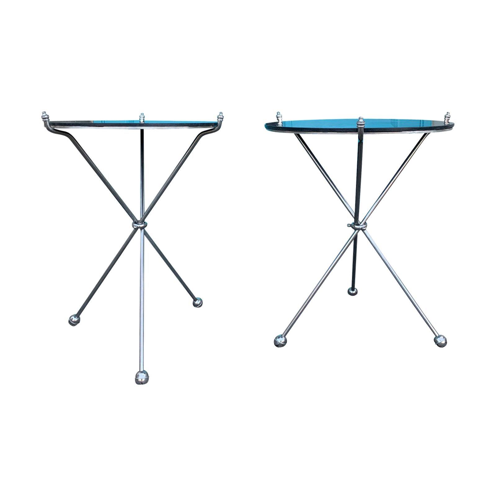 Pair of Maison Jansen Style Italian Steel Folding Tripod Tables with Marble Tops