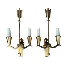 Pair of Maison Jansen Style Mid-20th Century Brass Arrow Sconces