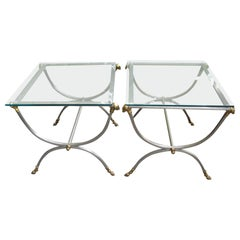 Pair of Maison Jansen Style Mid-20th Century Steel and Brass Neoclassical Tables