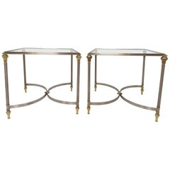 Pair of Maison Jansen Style Mixed Metal Side Tables, Made in Italy, circa 1960s