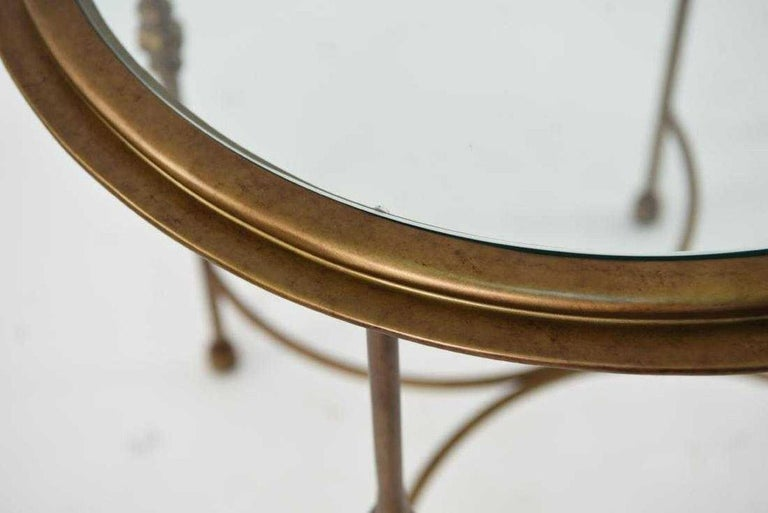 Machine-Made Pair of Maison Jansen Style Round Glass and Bronzed Metal Side Tables For Sale