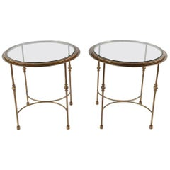 Pair of Maison Jansen Style Round Glass and Bronzed Metal Side Tables