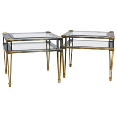 Pair of Maison Jansen Style Two-Tier Brass, Steel and Glass End Tables